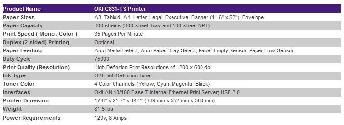 1fa8bd035 OKI C831-TS (CMYK) LED Transfer Laser Printer   Quality Digital ...