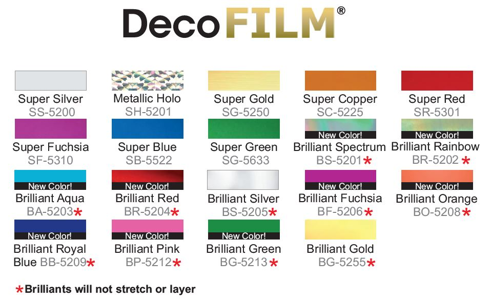 Deco Film colors from Specialty Materials