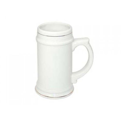 Picture of White 22oz Beer Stein w Gold Rim