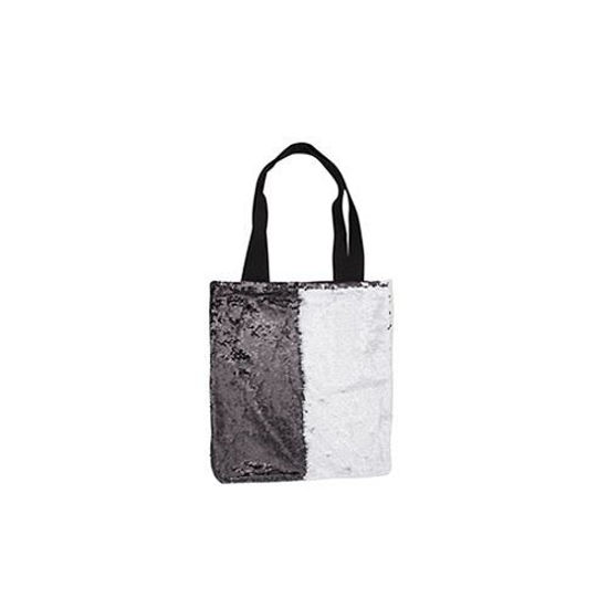 "Picture of Sequin Black and White Tote Bag 14"" x 15"""
