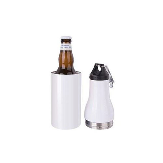 Picture of 12oz SS Beer Bottle w Opener - White